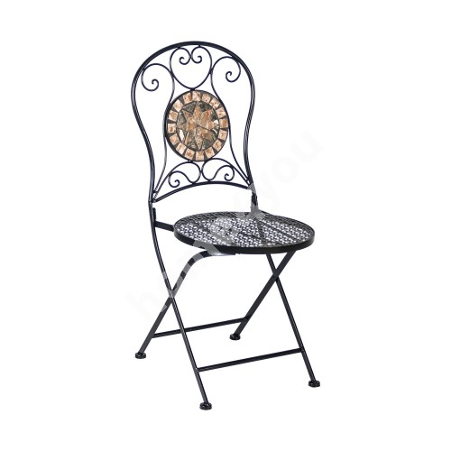 Chair MOSAIC 38x38xH93cm, foldable, round backrest and seat, metal frame, color: black