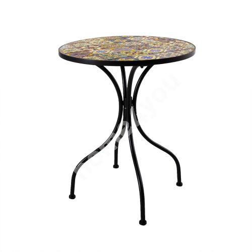 Table MOROCCO D60xH71cm, mosaic top with colored motifs, black metal frame