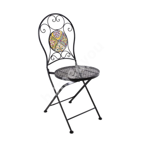 Chair MOROCCO 38x38xH93cm, foldable, round backrest and seat, black metal frame