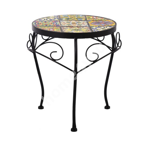 Flower stand MOROCCO D30xH35cm, mosaic top with colored motifs, black metal frame