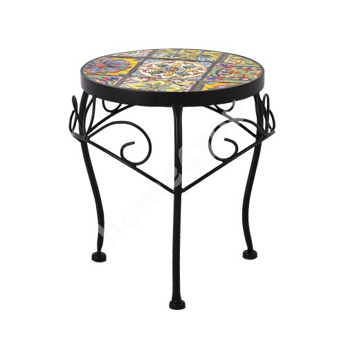 Flower stand MOROCCO D25xH30cm, mosaic top with colored motifs, black metal frame