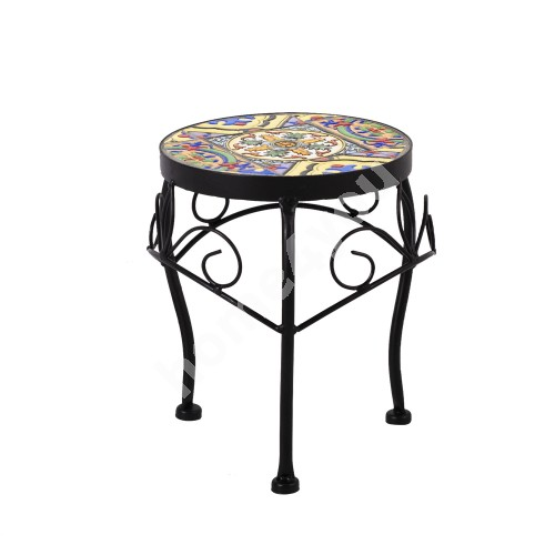 Flower stand MOROCCO D20xH25cm, mosaic top with colored motifs, black metal frame