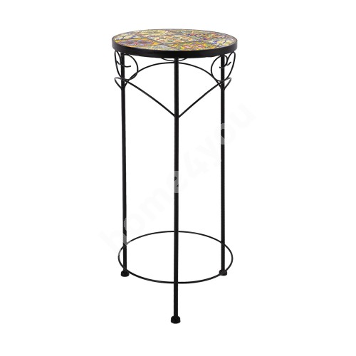Flower stand MOROCCO D30xH70cm, mosaic top with colored motifs, black metal frame