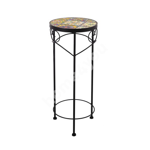 Flower stand MOROCCO D25xH60cm, mosaic top with colored motifs, black metal frame