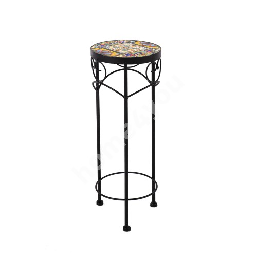 Flower stand MOROCCO D20xH50cm, mosaic top with colored motifs, black metal frame