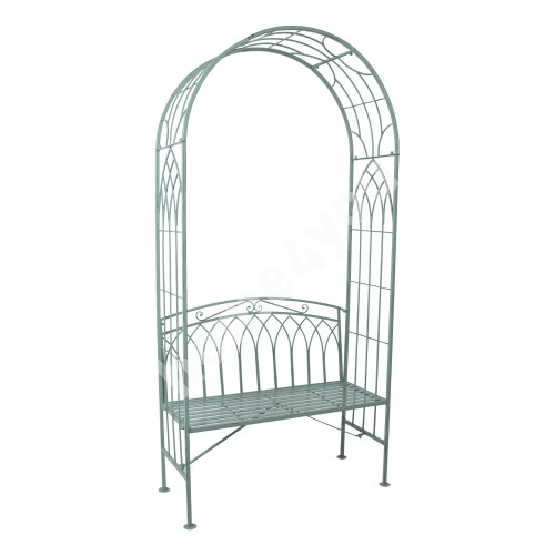 Bench MINT with arch 103x48xH211cm, wrought iron, antique green