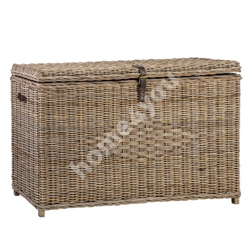 Trunk ANKER 136x46xH74cm, wooden frame with natural rattan weaving, color: grey