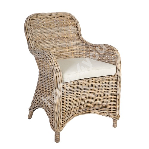 Armchair KATALINA with cushion 64x65xH85cm, rattan frame with natural rattan weaving, color: grey