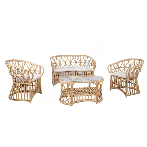 Set ACAPULCO table, sofa and  2 chairs, natural rattan / bamboo
