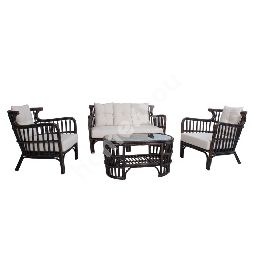 Set HAMPTON table, sofa and  2 chairs, brown natural rattan
