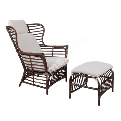 Armchair RETIRO with foot stool, brown natural rattan