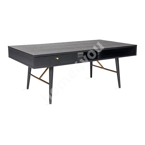 Coffee table LUXEMBOURG 115x60xH45cm, black / copper
