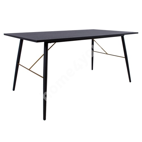 Dining table LUXEMBOURG 160x90xH75cm, black / copper