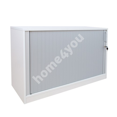 Cabinet EASY SPACE with tambour door 120x44,5xH74cm, white grey