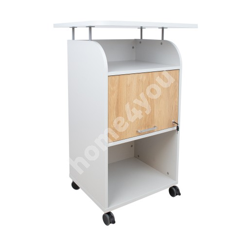 Mobile cabinet CADDY with desk 70x63xH113,5cm, white grey / hickory