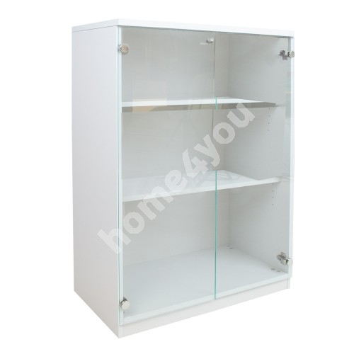 Cabinet EASY SPACE with glass doors 80x44,5xH115,5cm, white grey