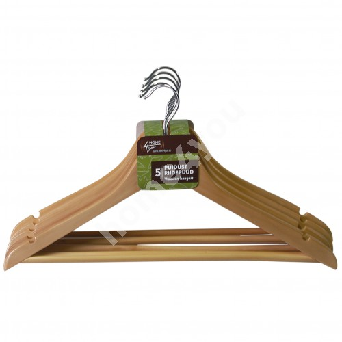 Cloth hangers 5pcs/set, natural wood