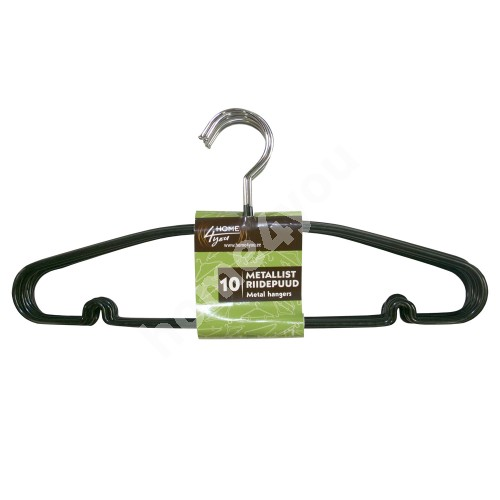 Cloth hangers 10pcs/set, non-slip metal, black PVC cover