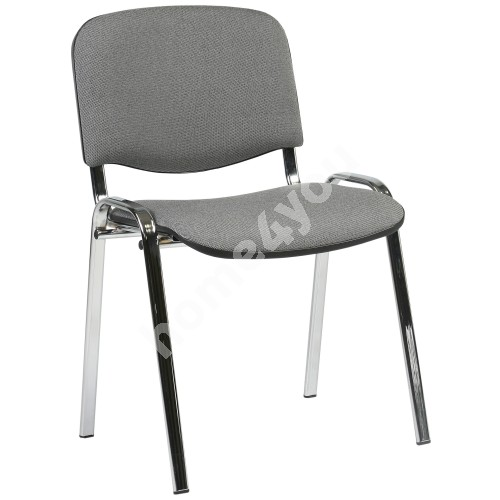 Guest chair ISO 54,5xD42,5xH82/47cm, seat: fabric, color: grey, frame: chrome
