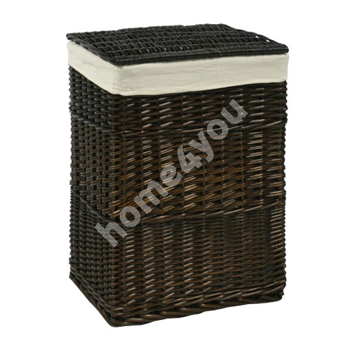 Laundry basket MAX, 45x34xH59cm, weave, color: dark brown, with fabric
