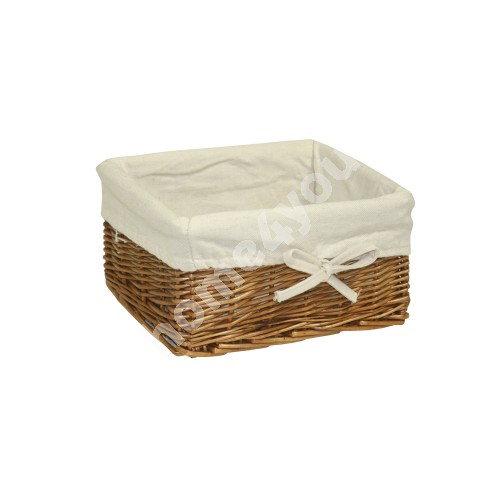 Basket MAX-2, 24x18xH12cm, weave, color: light brown, with fabric