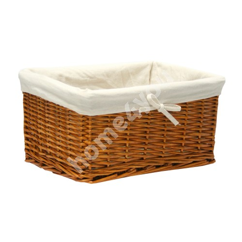 Basket MAX 37x29x19cm, weave, color: light brown, with fabric