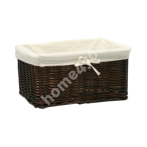 Basket MAX 30x21x18cm, weave, color: dark brown, with fabric