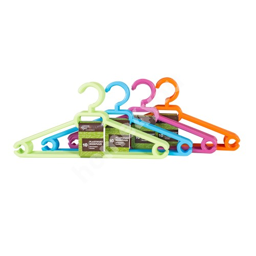 Cloth hangers 10pcs/set, plastic, mix color