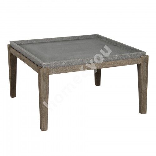 Side table SANDSTONE 83,5x83,5xH45,5cm, table top: polystone, acacia wood legs