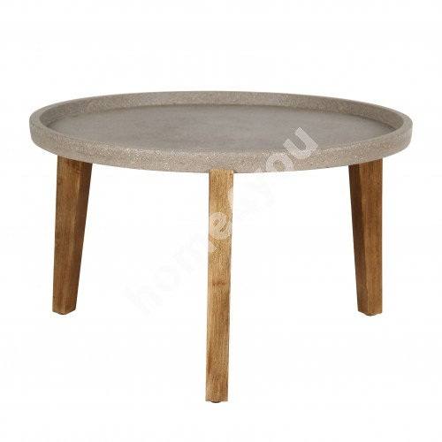 Side table SANDSTONE D73xH48cm, brownish polystone, light wooden legs