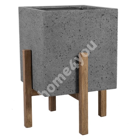 Lillepott SANDSTONE 59,5x59,5xH75cm, hall komposiitkivi, heledad puidust jalad