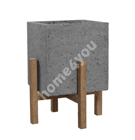 Lillepott SANDSTONE 36,5x36,5xH44,5cm, hall komposiitkivi, heledad puidust jalad