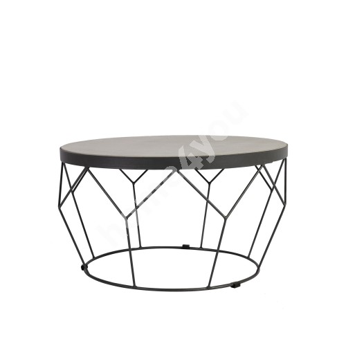 Table SANDSTONE D51xH28cm, table top: lime concrete, dark grey metal base