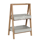 Shelf SANDSTONE 70x40xH100cm, grey polystone, wooden frame