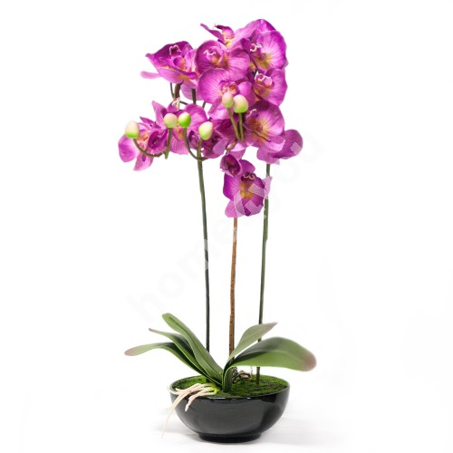 Pink orchid with 3 long branch, H72cm, black pot