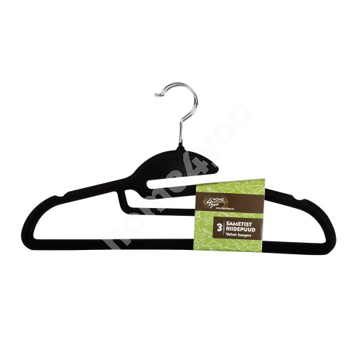 Cloth hangers with tie bar 3pcs/set, velvet, black