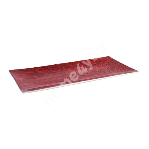 Glass plate 16,5x34cm, red