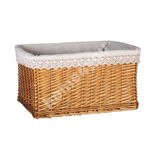 Basket MAX-2, 52x37xH28cm, weave, color: light brown, with fabric