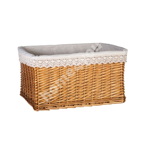 Basket MAX-3, 46x32xH26cm, weave, color: light brown, with fabric