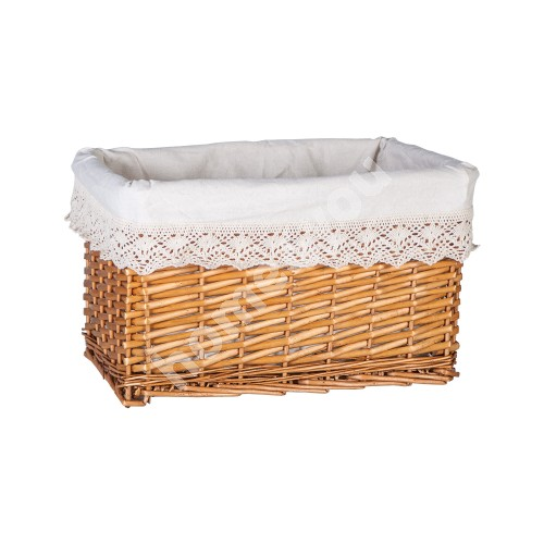Basket MAX-4, 40x26xH24cm, weave, color: light brown, with fabric