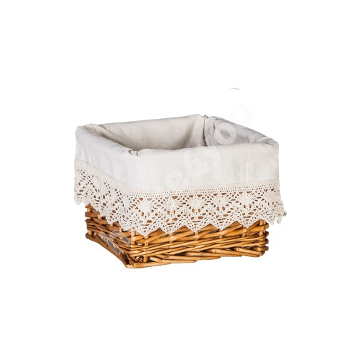 Basket MAX-5, 22x22xH15cm, weave, color: light brown, with fabric