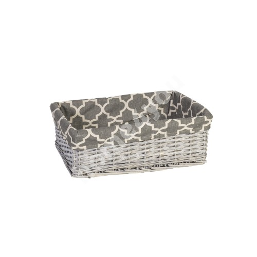 Basket MAX-4, 42x29xH14cm, weave, color: grey, with fabric