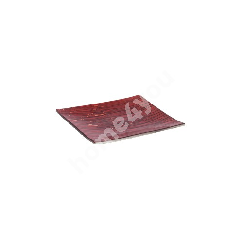 Glass plate 15x15cm, red