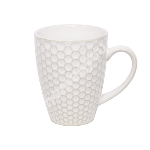Mug LUME, 280ml, D8xH10.5cm, honey comb design, white, trendy glowing glaze