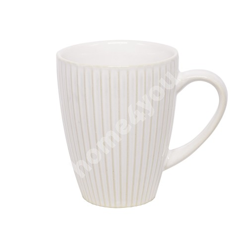 Mug LUME, 280ml, D8xH10.5cm, stripes design, white, trendy glowing glaze