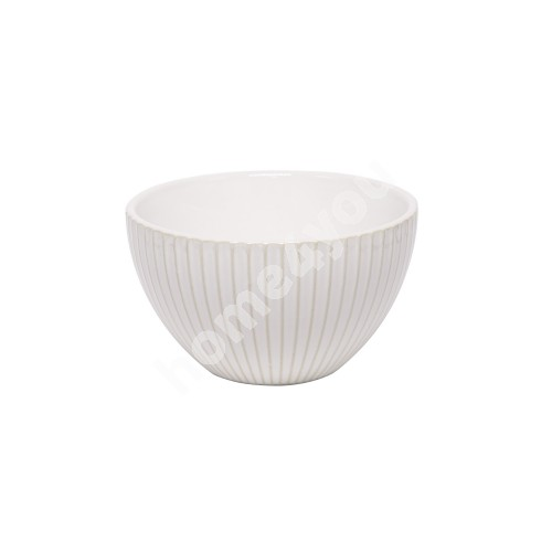 Small bowl LUME, 400ml, D12.5xH7cm, stripes design, white, trendy glowing glaze