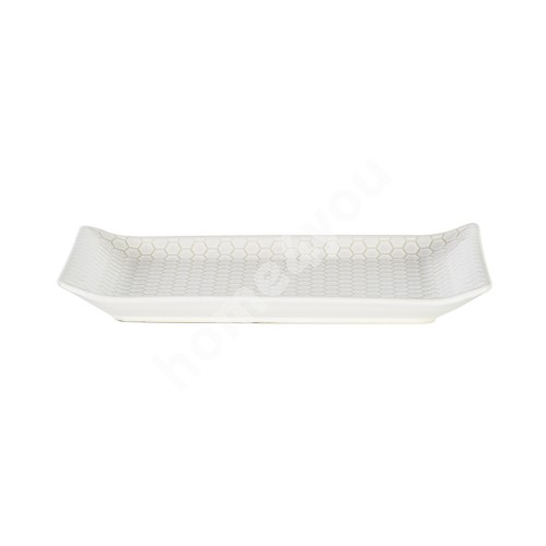 Serving tray LUME, 25x16cm, honey comb design, white, trendy glowing glaze