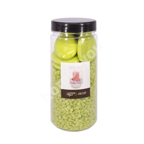 Color sand + stones DECOR SENSE, light green (sand scent- apple), size: sand 2-5mm, stones 4-5cm, weight: 760g