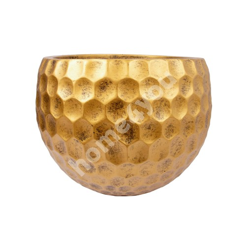 Flowerpot, low CUBO-2, D41xH31cm, antique gold