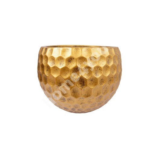 Flowerpot, low CUBO-3, D31xH23cm, antique gold